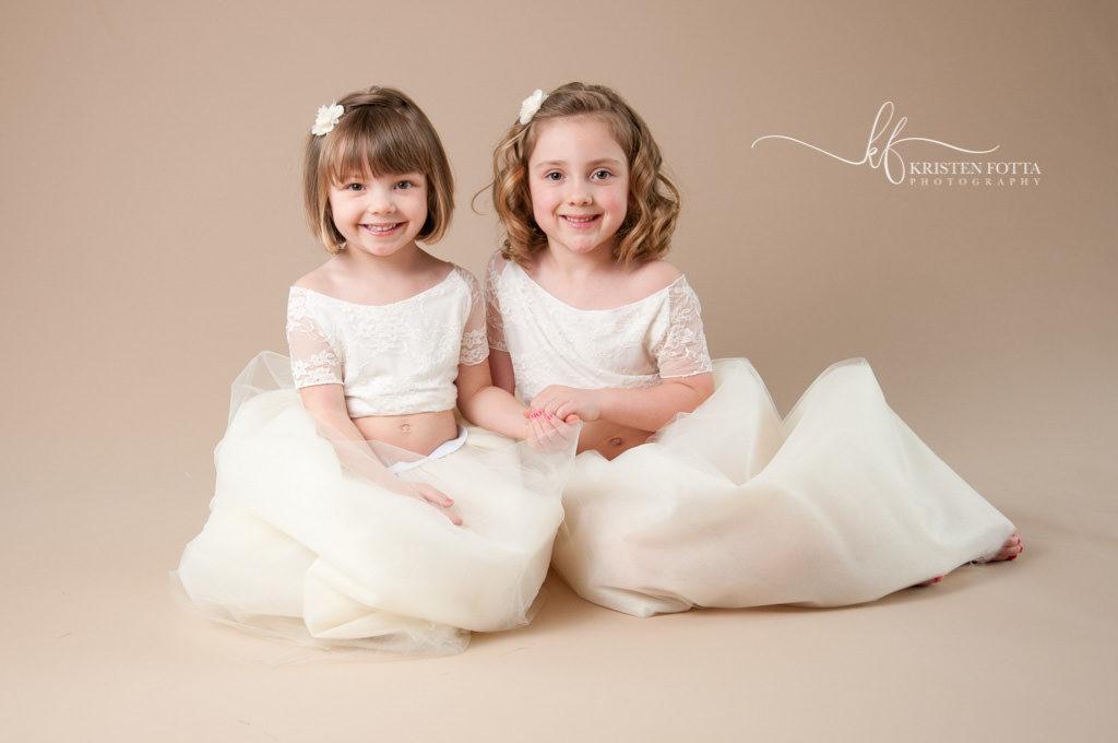 sister matching cream tutu dresses