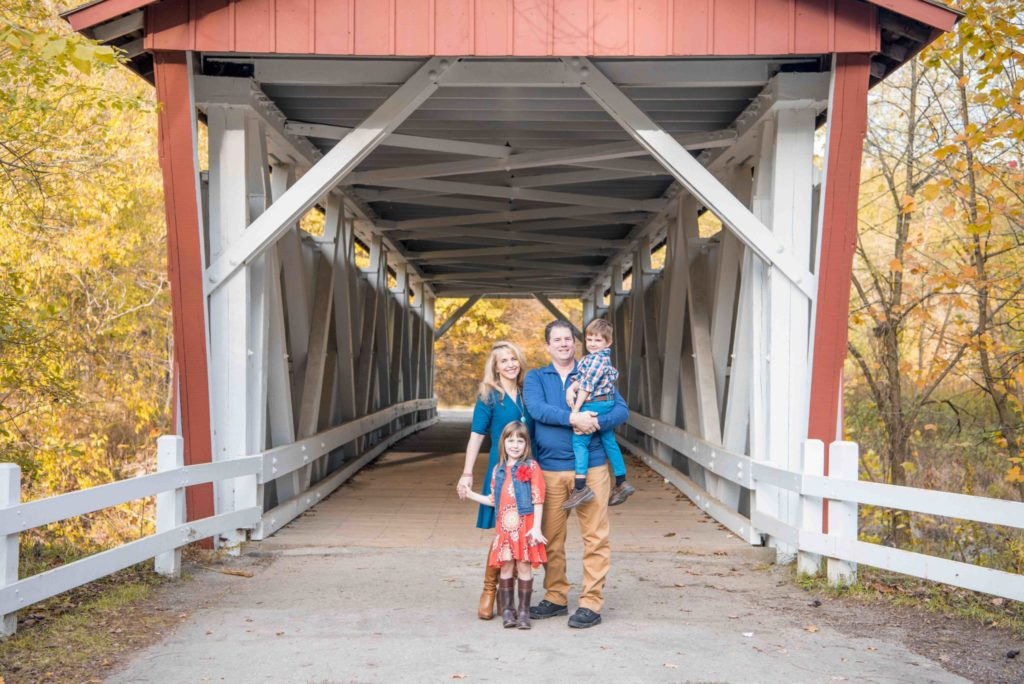 family portrait at the covered Bridge in Richfeild Ohio