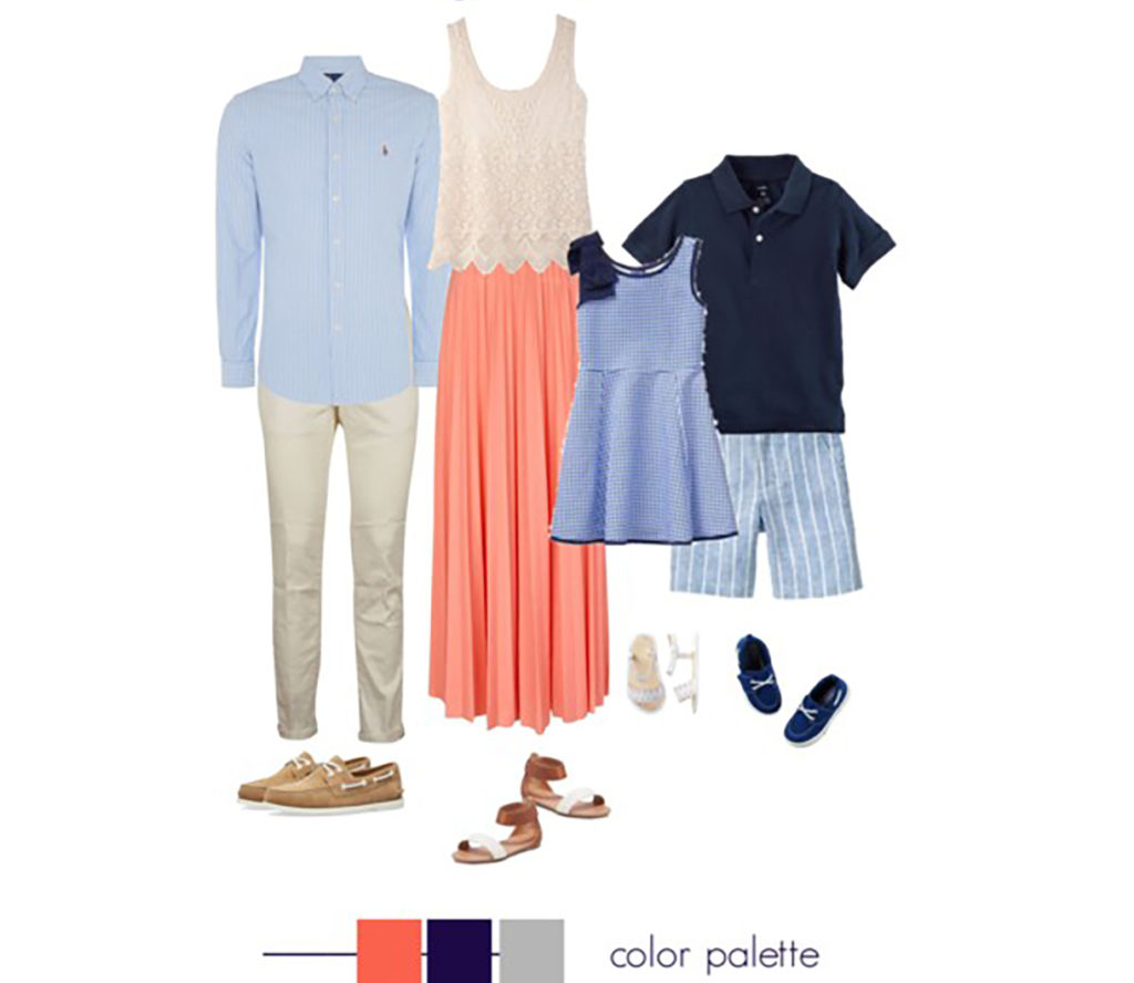 peach white and blue family pictures