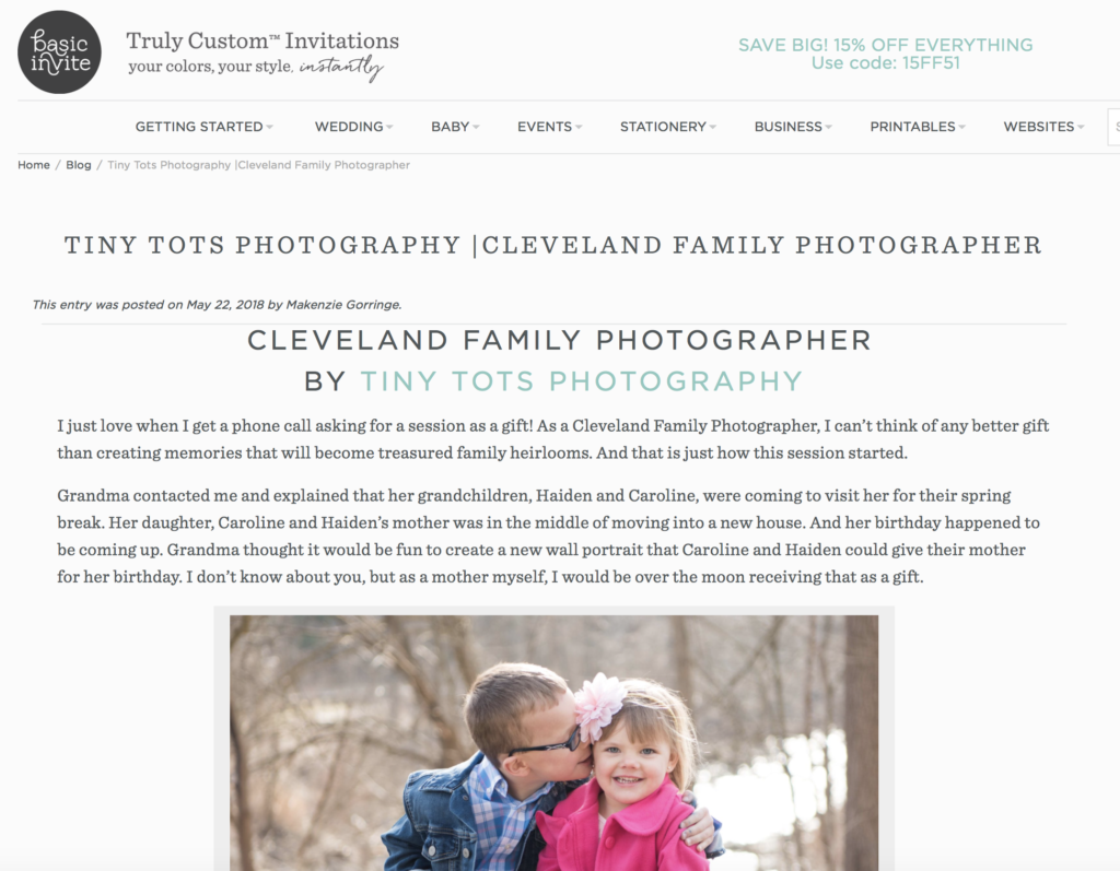 Tiny Tots Was Asked To Be A Featured Photographer By Basic Invite