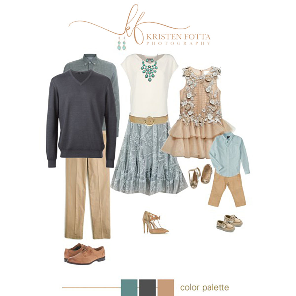 blue and tan outfits for family pictures