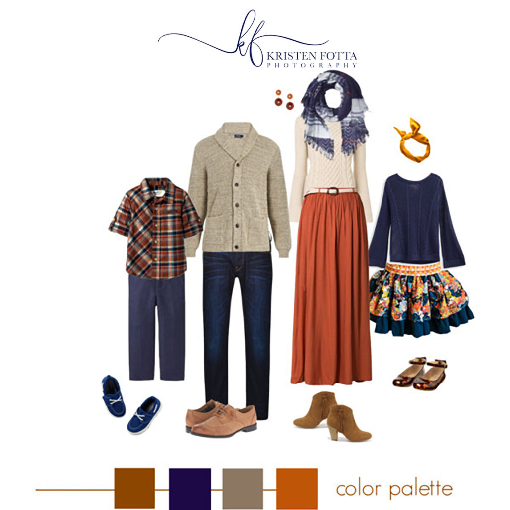family outfit in navy, rust orange and tan