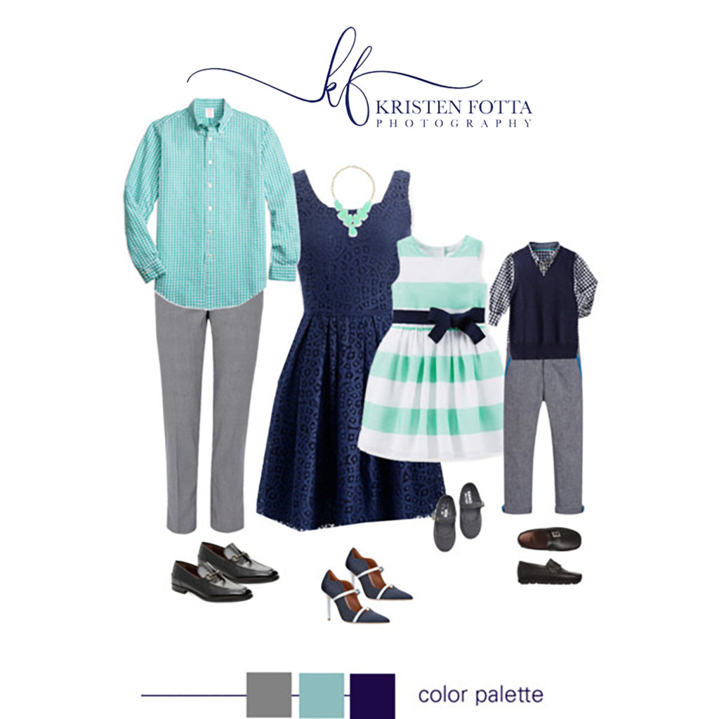 aqua and navy outfits for family photos