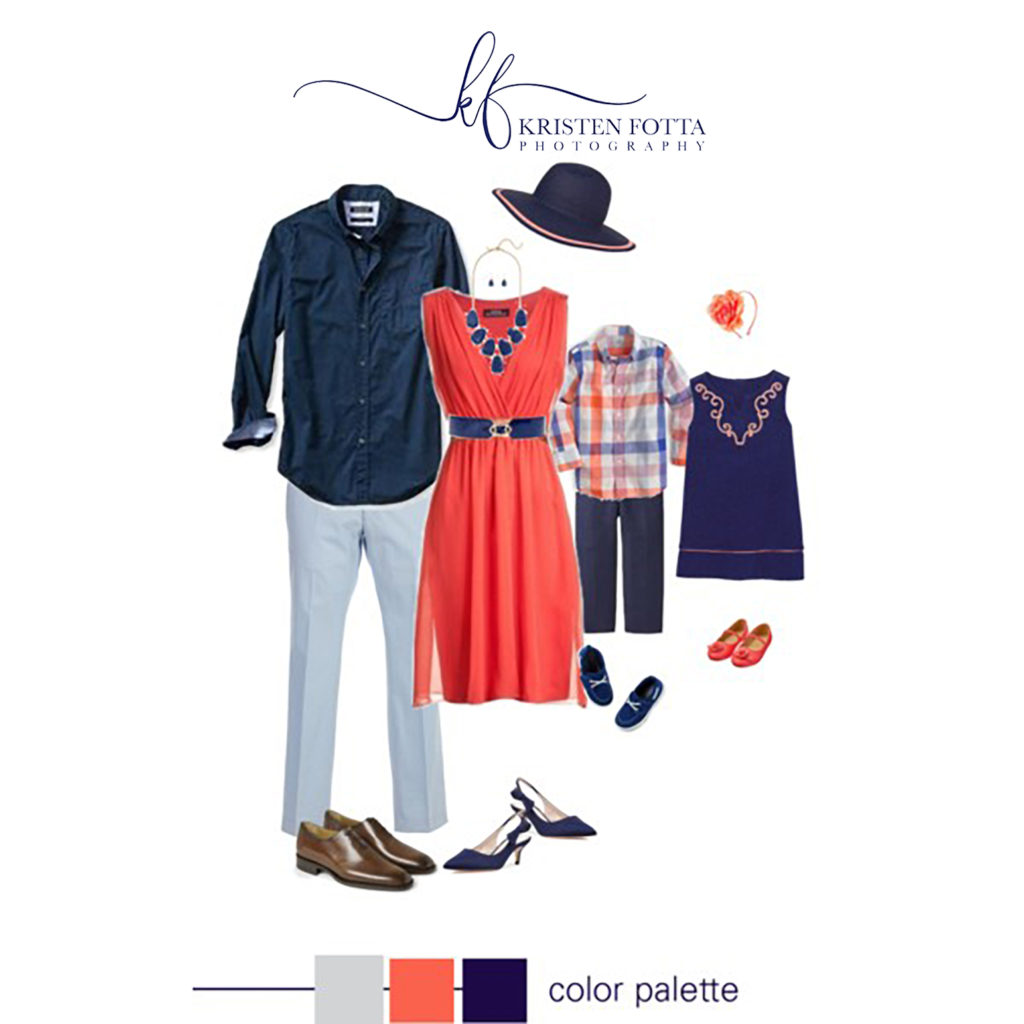 outfit for family pictures in coral and navy