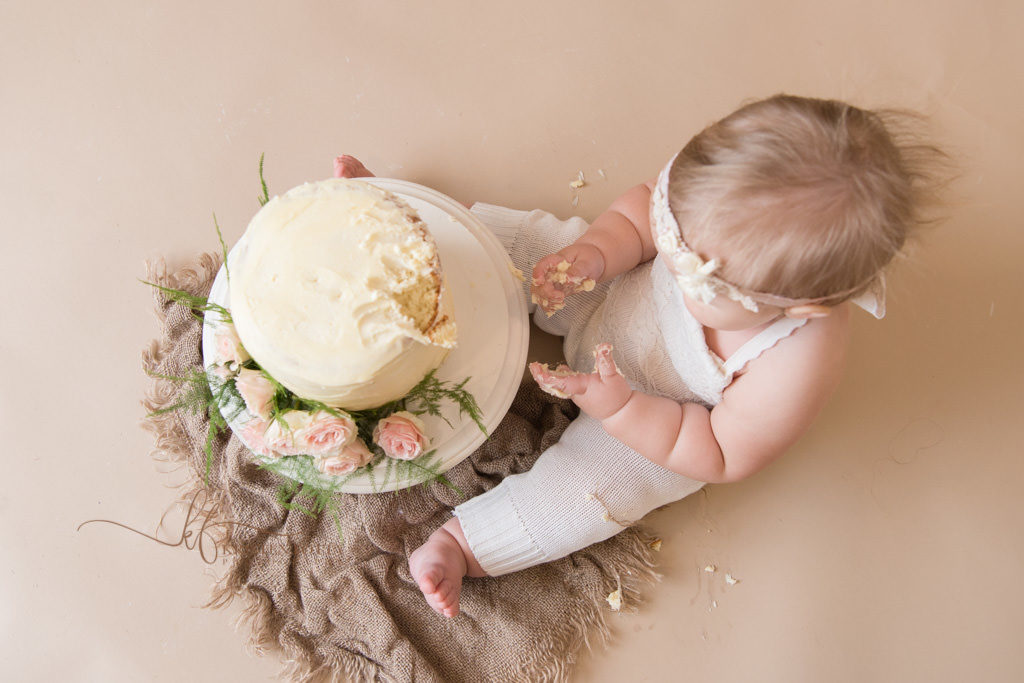 aerial view of baby cake smash