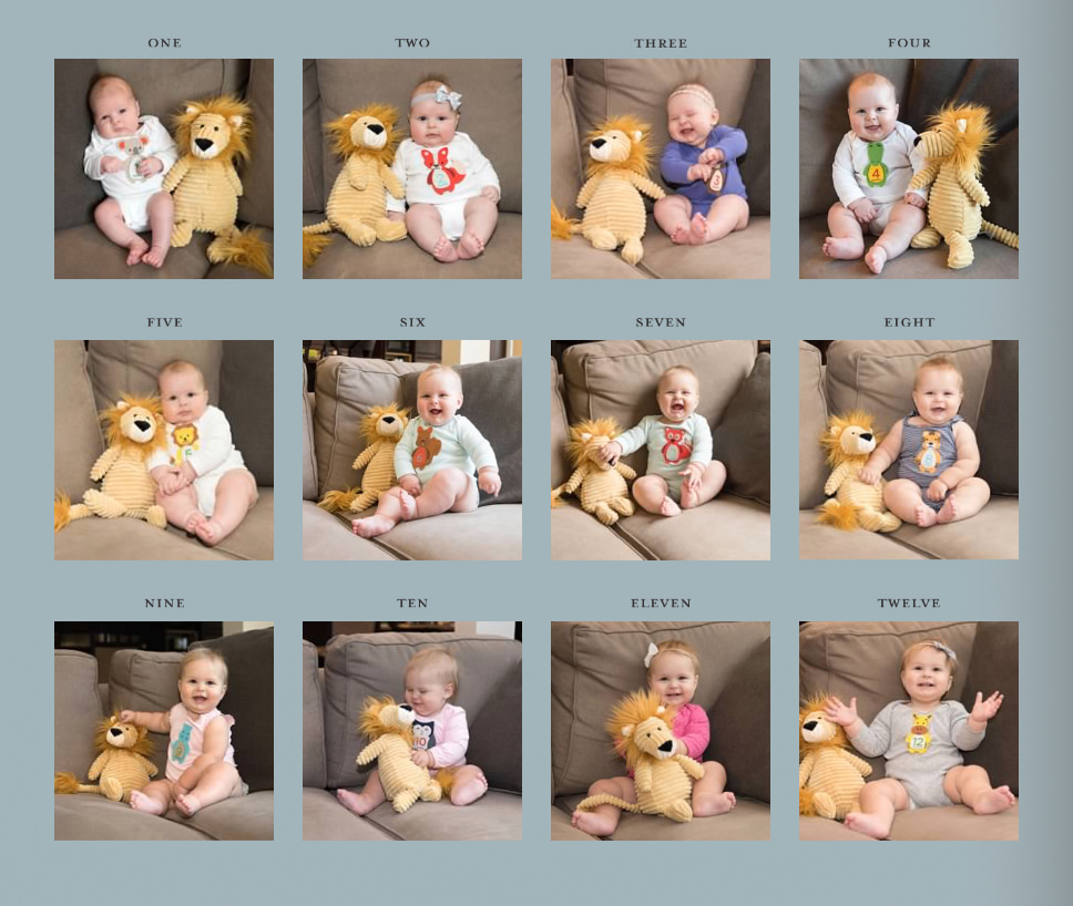 monthly baby pictures collage