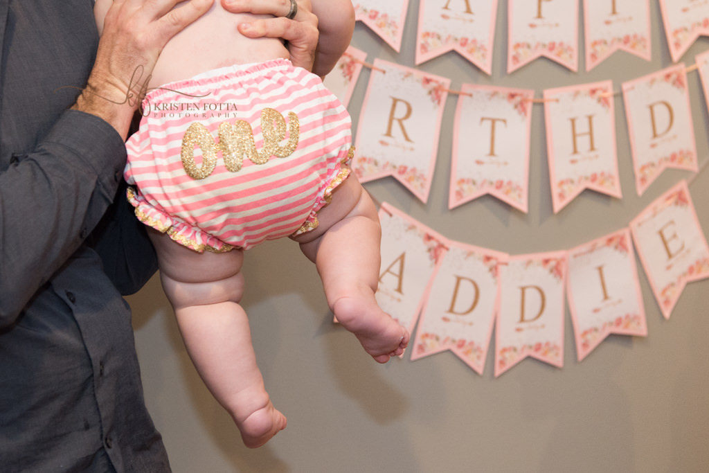 detail of baby's 1st birthday outfit