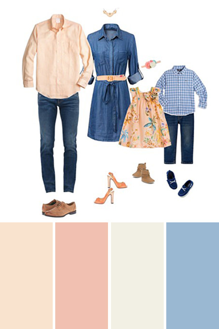 Peach, Blue and Denim family pictures