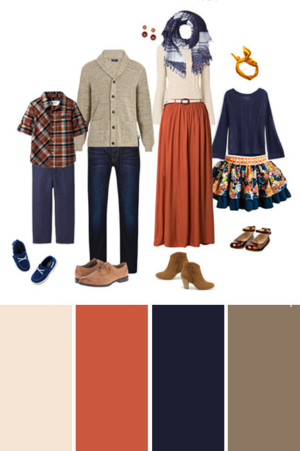 fall family picture color scheme in orange tan and navy