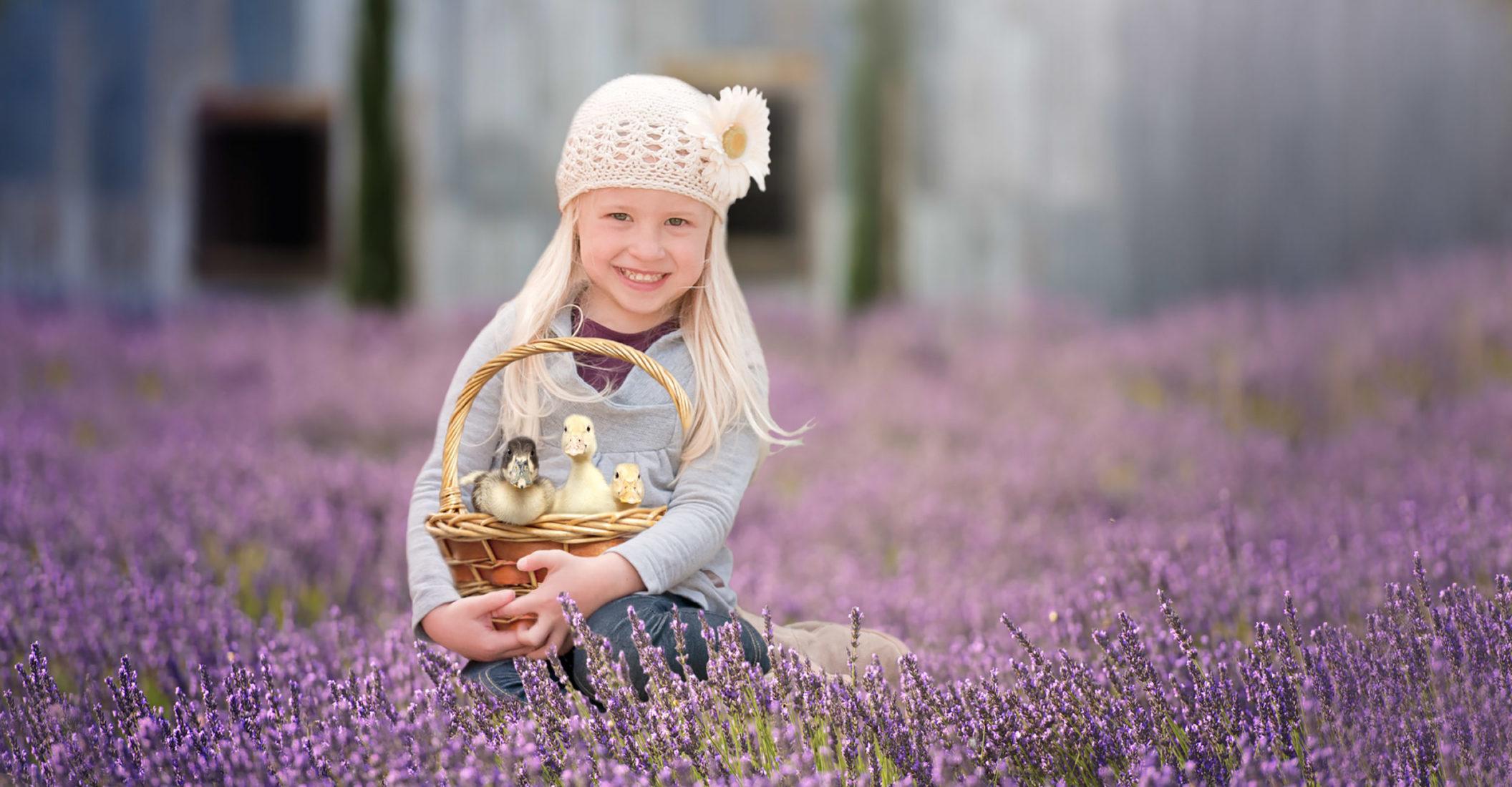 girl holding basket ducks lavendar field