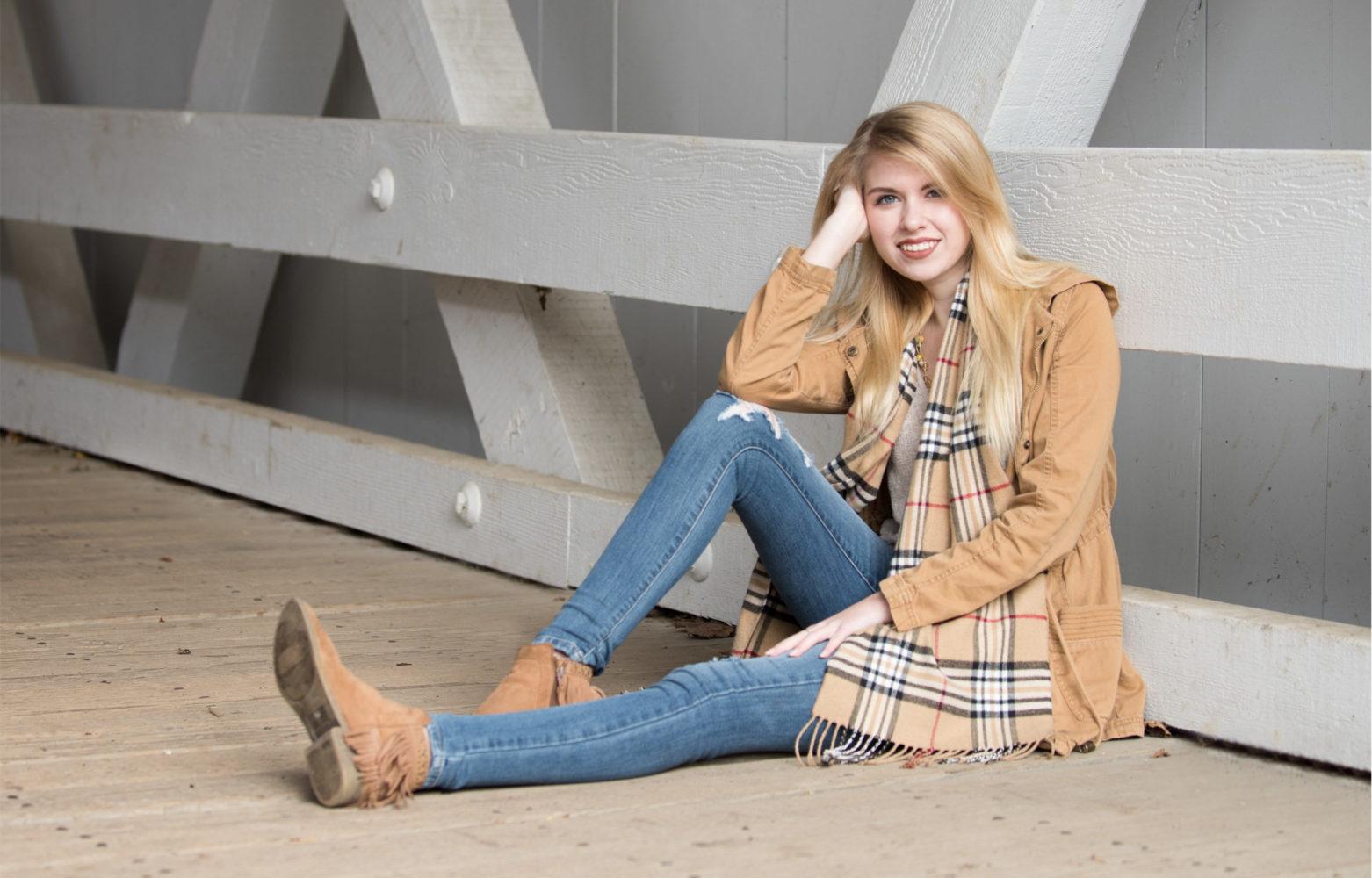 senior picture girl covered bridge