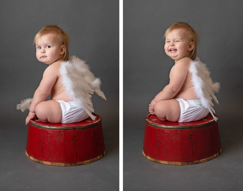 A side by side comparison showing how to get natural smiles when photographing children